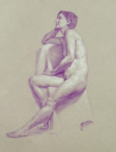 """Study of T, 16"""" x 20"""", coloured pencil and white chalk on toned paper"""