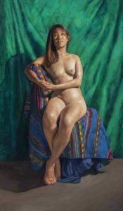 "forwards & backwards (she sits on her grandmother's blanket), 16"" x 28"", oil on linen"