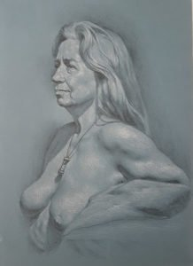 """Study of R, 12"""" x 16"""", graphite and white chalk on toned paper"""