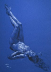 "Blue Mermaid, 12"" x 16"", charcoal and white chalk on coloured paper"